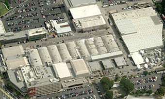 An aerial view of a building in California.