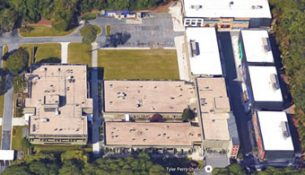 An aerial view of a building in Georgia.