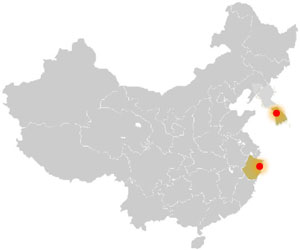 Map of China with different locations highlighted.