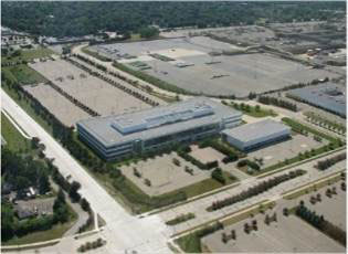 Aerial shot of Michigan Motion Pictures Studios.
